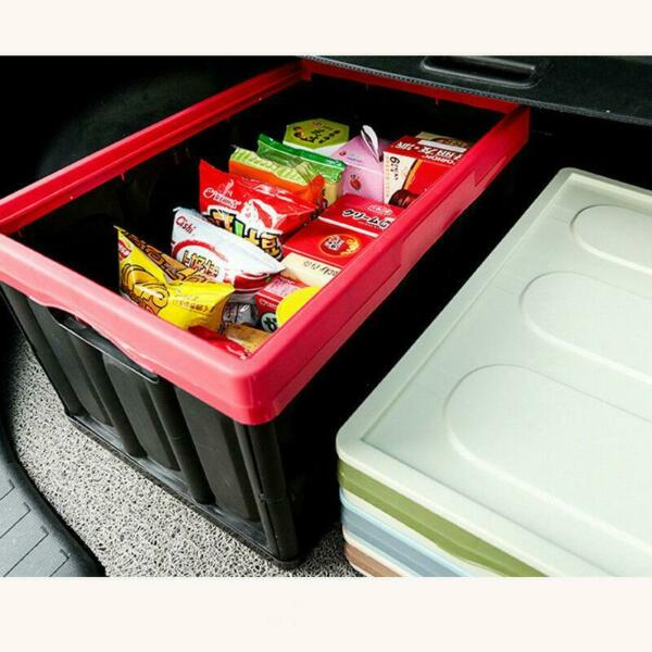 55L Collapsible Plastic Storage Box Durable Stackable Folding Utility Crate $22.99