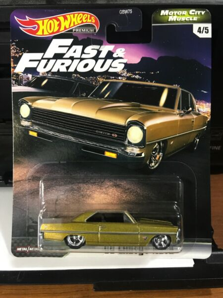 2020 Hot Wheels Premium FAST N FURIOUS MOTOR CITY MUSCLE GOLD '66 CHEVY NOVA