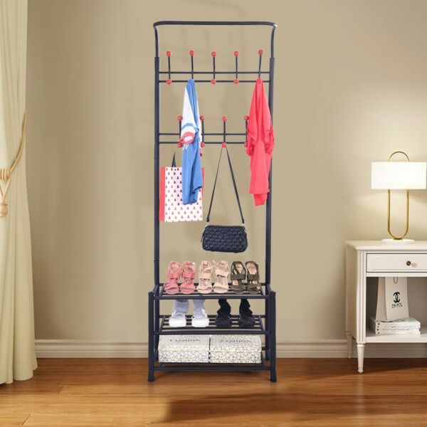Metal Entryway Coat Shoe Rack 3-Tier Shoe Bench With Coat Hat Umbrella Rack B