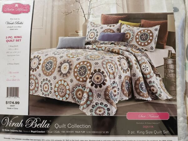 Virah Bella® Collection DEBRA VALENCIA™ 3 Piece QUILT KING 105quot; X 95quot;