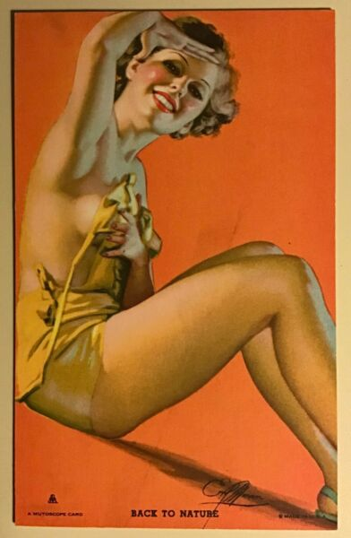 Mutoscope Pin up Arcade card Vintage 1940's Back to Nature