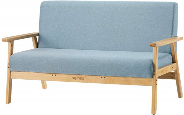 Stable Living Room 2-Seater Wooden Loveseat Upholstered Armchair Furniture Blue