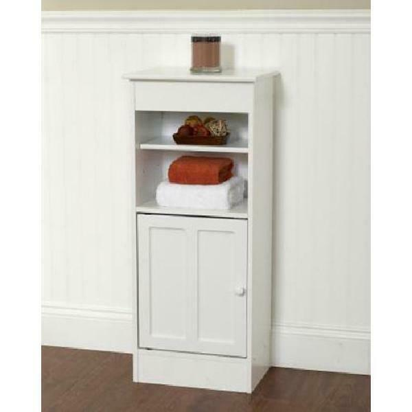 3 Foot Bathroom Cabinet Floor Wood Open Shelves Linen White Small Towel Supply