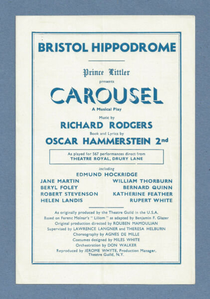Edmund Hockridge quot;CAROUSELquot; Rodgers amp; Hammerstein 1952 Bristol England Program