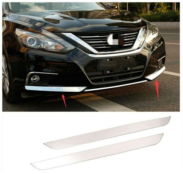 Stainless For Nissan Altima 2016 2018 Front Bumper Bottom Protector Cover Trim*2