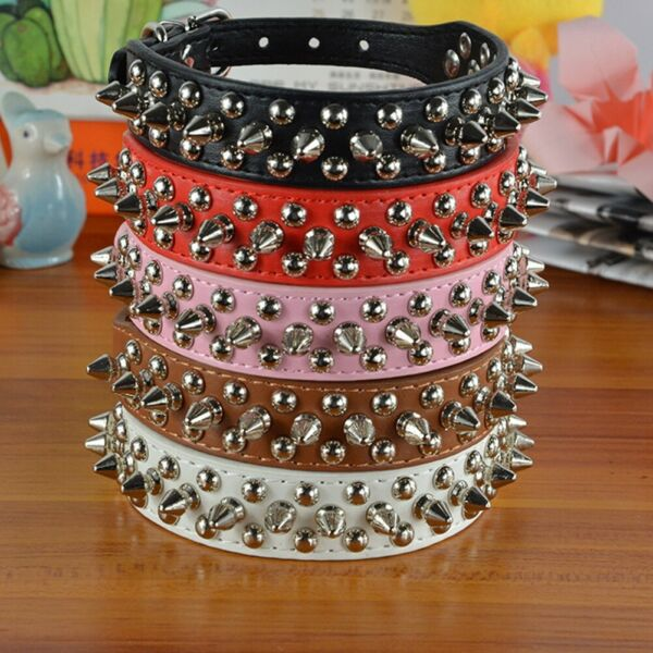 Small Dog Spiked Studded Rivets Pet Dog Faux PU Leather Collar Toy Small XXS L $6.25