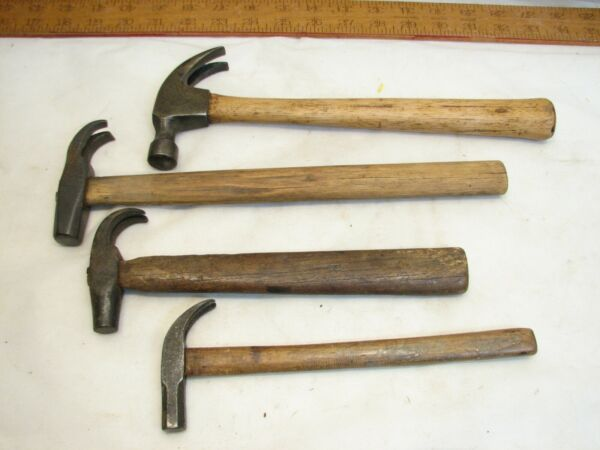 Lot Antique Claw Hammer Wood Tools Carpenter's Tack Octagon Poll Nail Puller