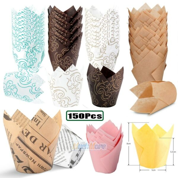 150 Pack Tulip Muffin Wrappers Large Cupcake Paper Liners DIY Baking Cups FDA