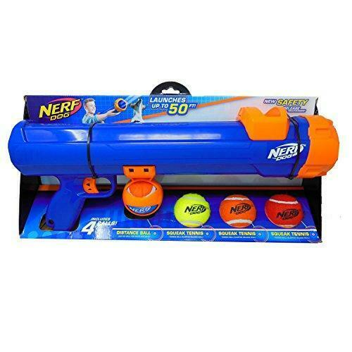 Nerf Dog Large Size Tennis Ball Blaster Gift Set with 4 Balls Great for Fetch $45.39