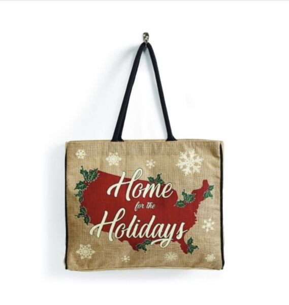 *NEW* Mona B Upcycled Burlap Home For The Holiday Jute Tote Bag