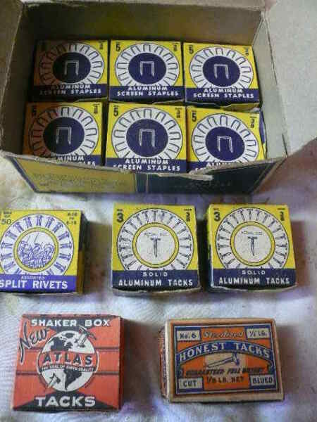 VINTAGE BOXES OF TACKS CARPET SHOE THUMB NAILS STAPLES amp; OTHER FASTENERS