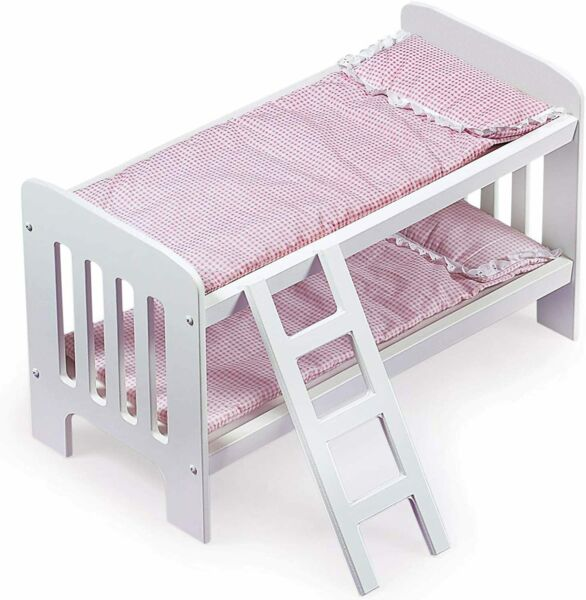 Doll Bunk Bed Girl Play Toys Ladder Bedding Pink For Dolls Home Personalization