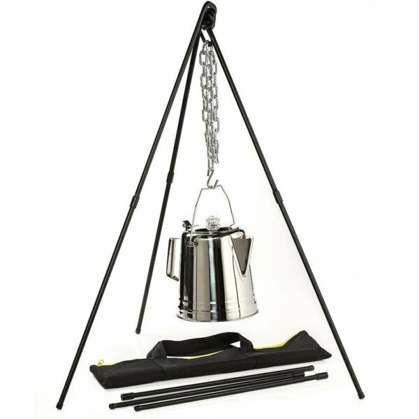 Lodge Adjustable Campfire Cooking Tripod 40quot; 60quot; Hanging Chain and Carrying Case