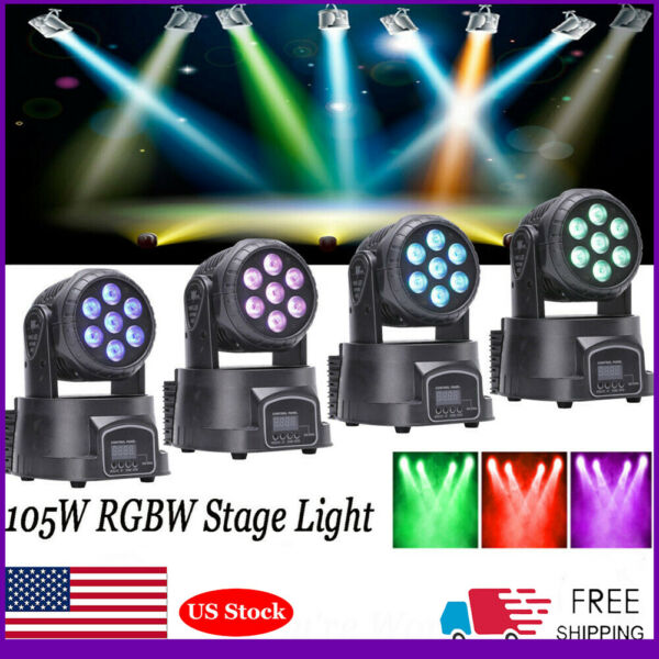 4PCS 105W Moving Head Stage Light RGBW LED Fixture Mixing Party Lighting DMX