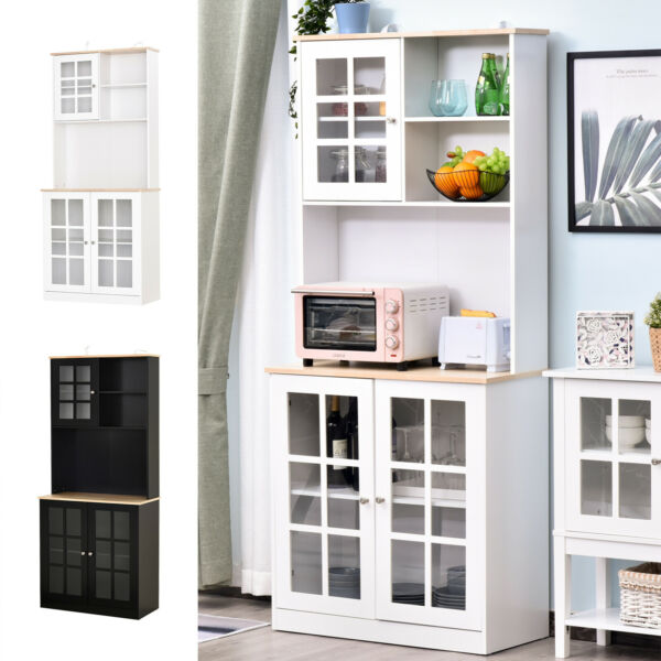 HOMCOM 72quot; Modern Kitchen Storage Kitchen Cabinet Pantry w Minimal Design