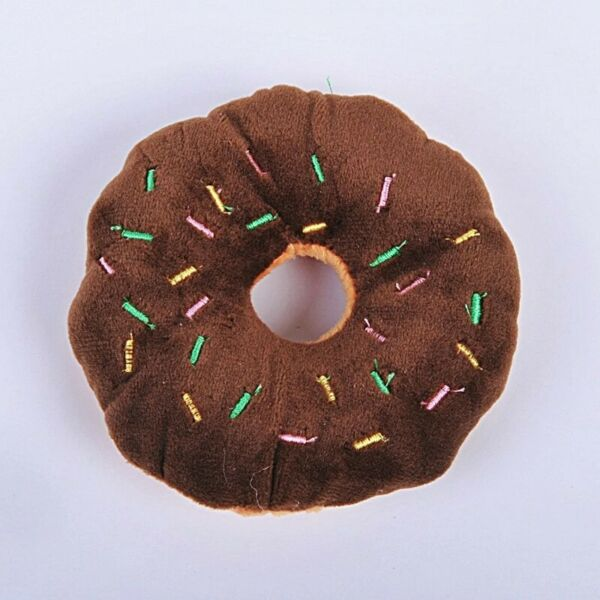 Pet Dog Puppy Donut Small Dogs Chew Squeaky Plush Toy Brown  $5.99