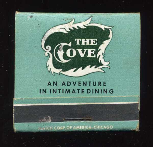 Vintage 1940's 1950's The Cove Intimate Dining Restaurant Los Angeles Matchbook