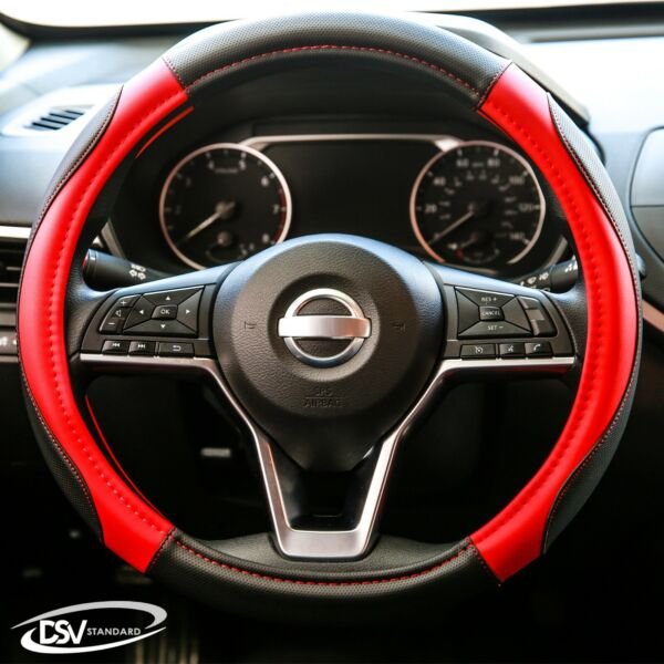 DSV Standard  Black-Red Leather Heated Car Steering Wheel Cover 15 Inches