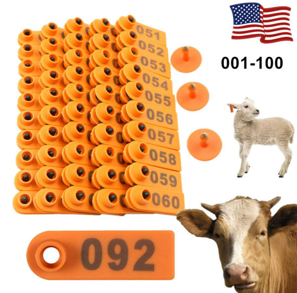 100 Number Sheep Goat Pig Cattle Cow Animal Livestock Ear Tag Marking Labels US $18.69