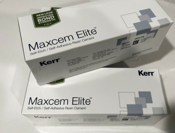 Maxcem Elite WHITE Cement 2x5G Syringes and Accessories  EXP 102020 Kerr