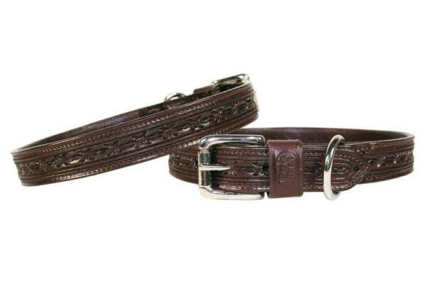 Derby Dog Designer Series Tooled USA Leather Padded Barbwire Dog Collar $29.95