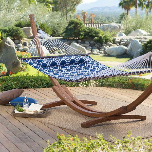 Coral Coast 13 ft. Hampton Lattice Quilted Hammock with Russian Pine Stand