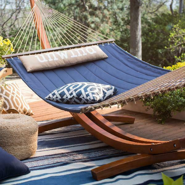 Coral Coast 13 ft. Unwind Quilted Hammock with Russian Pine Stand