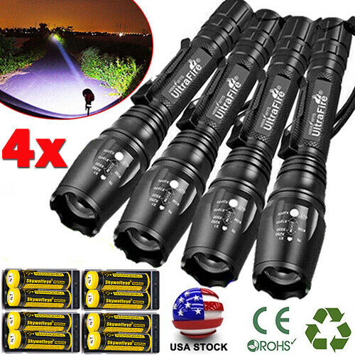 Zoomable Ultrafire Tactical 350000LM 5Modes T6 LED Focus Flashlight 186*50 Torch