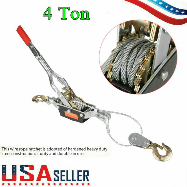 4 Ton Come A Long Winch Hoist Ratcheting Hand Cable Puller Crane Pulling 2 Hooks $32.99