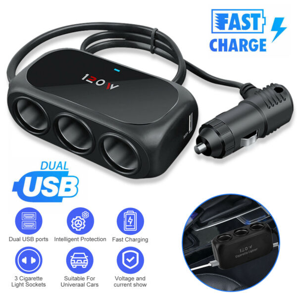 Bluetooth Wireless Car FM Transmitter AUX Stereo Receiver Adapter 2 USB Charger $12.47