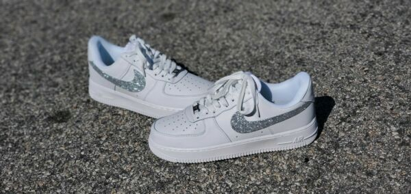 Air Force 1 One Custom White Silver Size 8.5