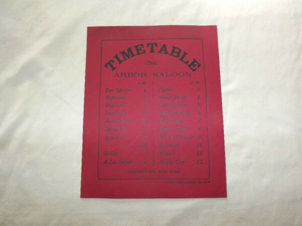 VINTAGE FARMERS MUSEUM TIME TABLE ARBOR SALOON COOPERSTOWN NEW YORK