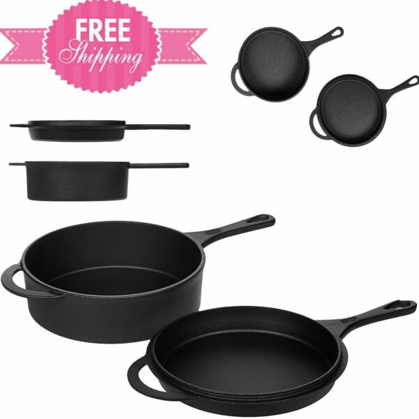 Pre Seasoned Cast Iron Skillet and Dutch Oven Set NEW Great Easy to Clean