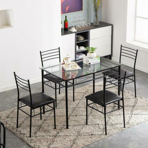 Wood 5 Piece Metal Dining Table Set 4 Chairs Top Home Dining Room Furniture