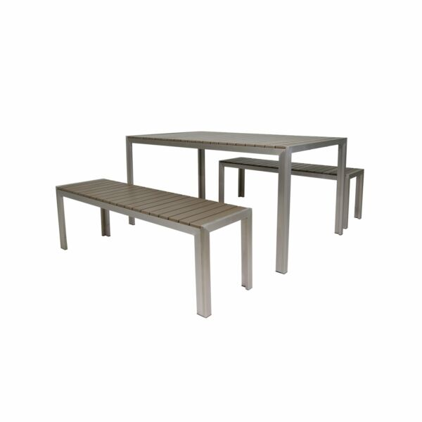 Cape Coral Outdoor Aluminum Picnic Set with Faux Wood Top by Natural 3-Piece Set