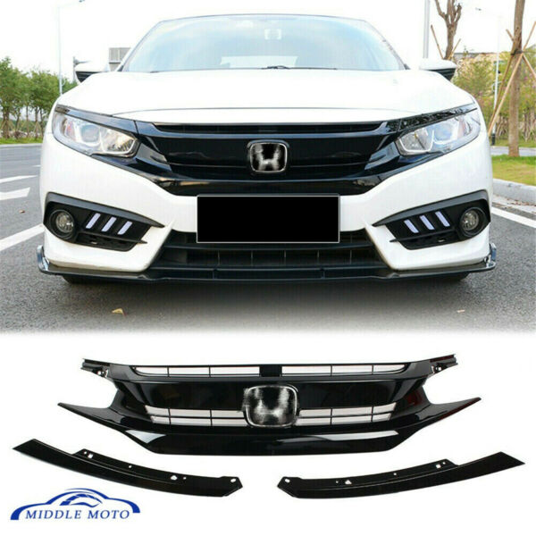 Black Front Hood Grill Grille With Emblem for 2016-2018 Honda Civic Coupe Sedan