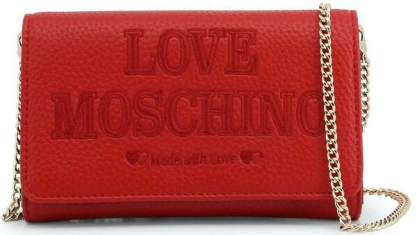LOVE MOSCHINO Red Leather Clutch Bag Removable Shoulder Strap New Authentic $119.99