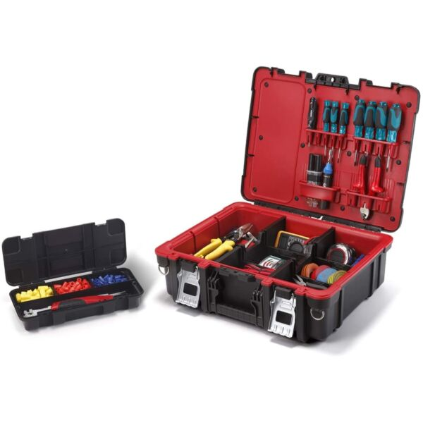Keter Technician Portable Tool Box Organizer for Small Parts & Hardware Storage
