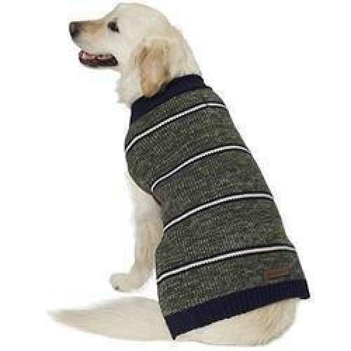 Eddie Bauer Dog Sweater Marled Striped Navy and Green Size Large L NWT $16.99