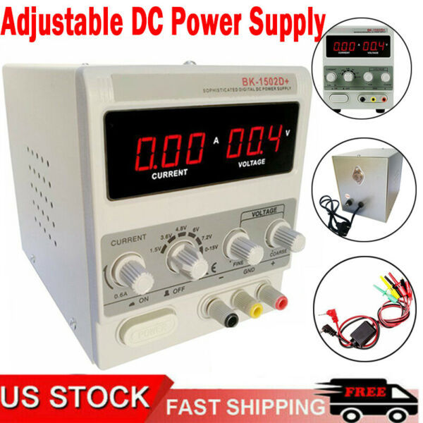 School Adjustable DC Power Supply Precision Variable Dual Digital Lab Test 110V