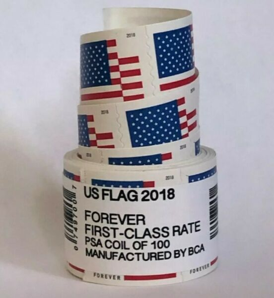 US Flag Forever Coil of 100 Postage Stamps Stamp Design May Vary SEALED