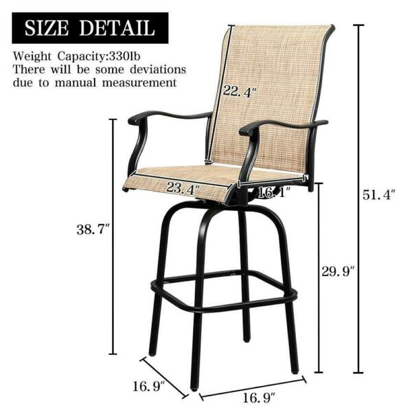 Outdoor Patio Bistro High ChairsSling Swivel Bar Stools Set of 2 $179.90