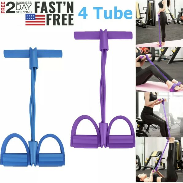 4-Tube Yoga Equipment Sit up Fitness Foot Pedal Pull Rope Resistance Exercise