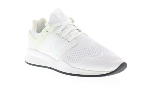 New Balance 247 XMS247EW Mens White Wide 2E Canvas Low Top Sneakers Shoes