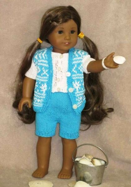 clothes for 18 in dolls hand knit summer shorts top and vest
