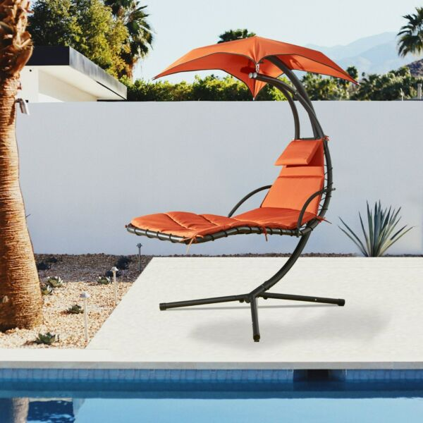 Hanging Chaise Lounge Chair Canopy Floating Chaise Lounger Swing Hammock Chair