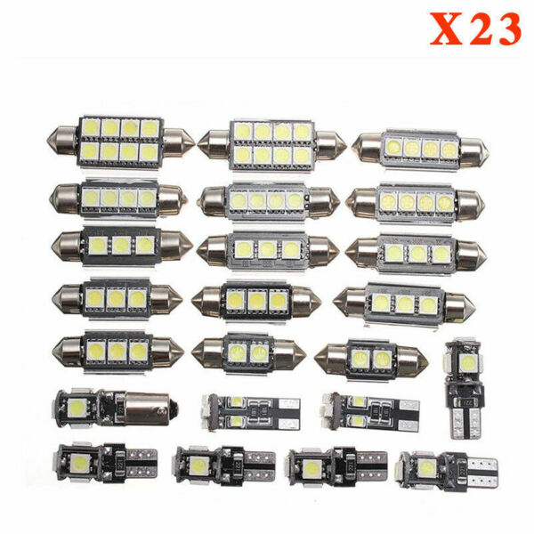 23pc Canbus LED Car Interior Inside Light Dome Trunk Map License Plate Lamp Bulb