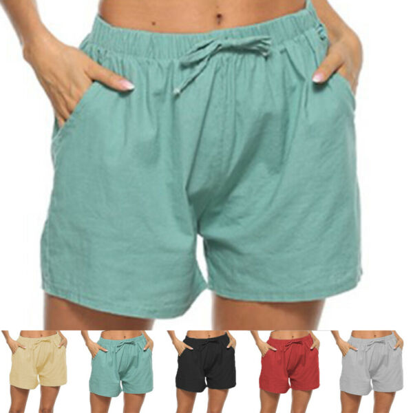 Womens Shorts Elastic Waist Summer Beach Casual Loose Yoga Fitness Hot Pants $12.39