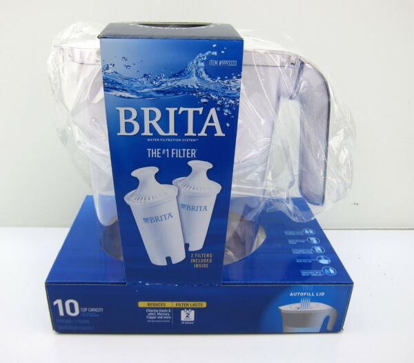 NEW BRITA 10 Cup Lake Water Filter Pitcher with 2 Filter amp; AutoFill Lid 9993333
