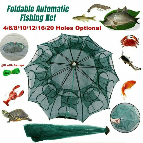 Magic Fishing Trap 20Holes Full Automatic Folding Shrimp Cast Cage Crab Fish Net $13.47